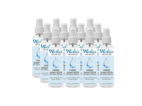 12 Pack: Washie ON THE GO Hand Sanitizer 3.3oz (100ml) - 80% Alcohol