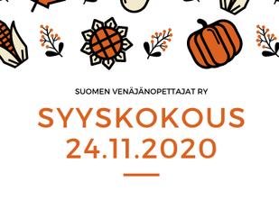 Suomen venäjänopettajat ry:n Syyskokous 2020