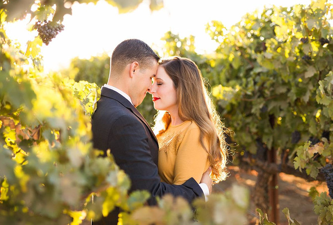 Jenny + Luis Sun Soaked Vineyard Engagements
