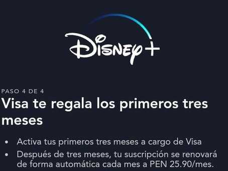 Visa te regala hasta 4 meses Gratis de Disney Plus