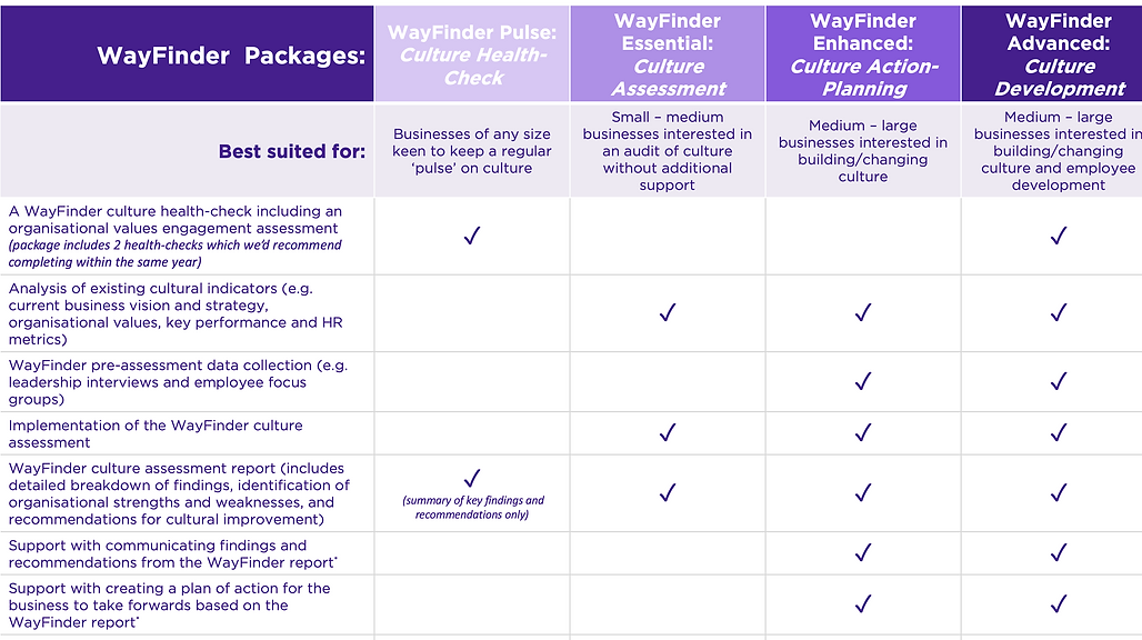WayFinder Packages - Culture Change Consulting