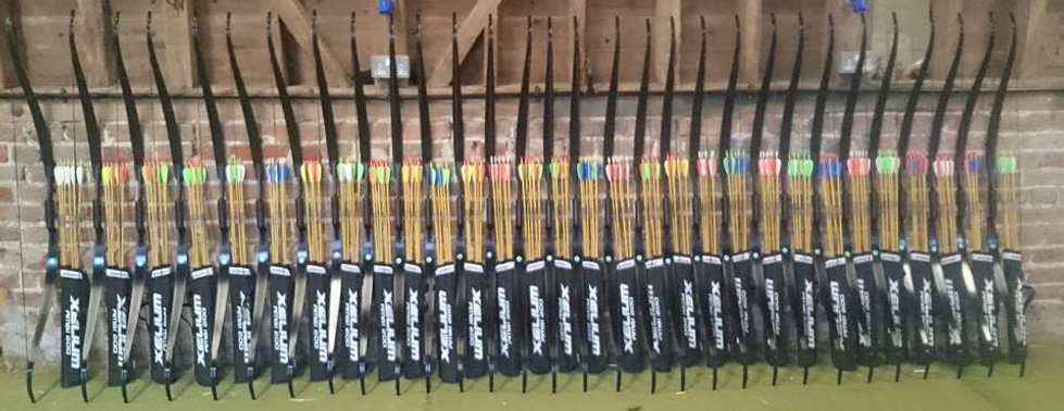 Equipment ready for a corporate team-building day at White Dragon Archery's indoor range in Essex