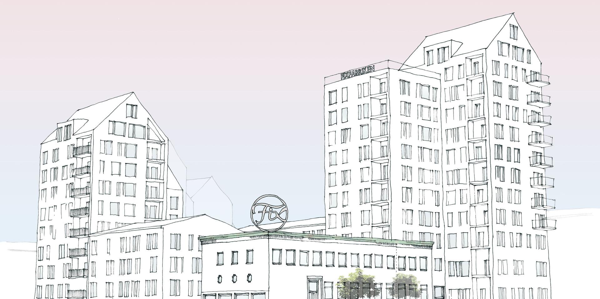 Konceptskiss - del av Fixfabrikens gamla kontor bevarad och integrerad in i ny bebyggelse.  Läs mer på   https://www.hsb.se/goteborg/sok-boende/projekt/?projektlan=vastra-gotaland&projektkommun=goteborg&projektnamn=sannaparken  Bild: Industriromantik