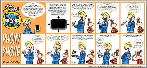 Mac King's Magic in a Minute comic strip - Phony Phone trick