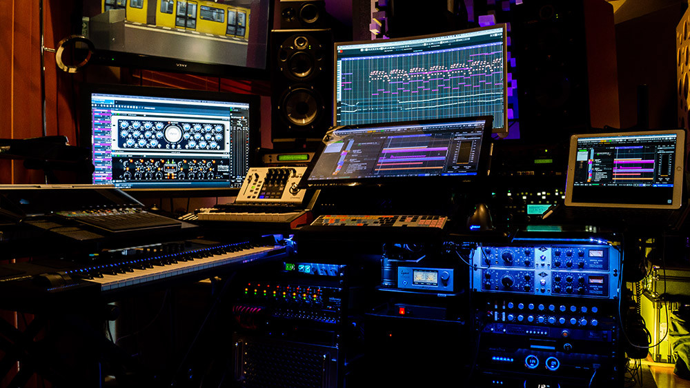 Composer/Producer suite with multiple monitors, Raven MTi touchscreen