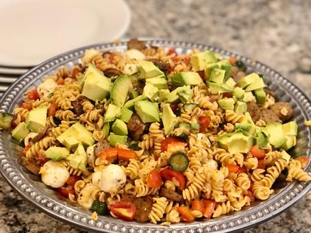 Veggie Packed Caprese Pasta Salad