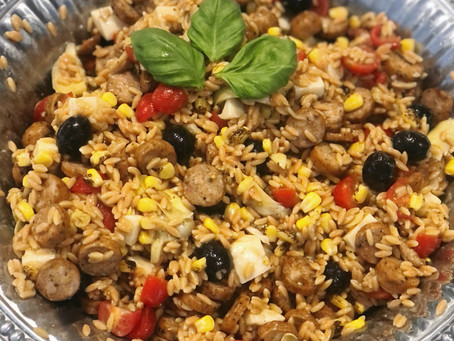 """Chickpea and Red Lentil """"Orzo"""" Salad"""