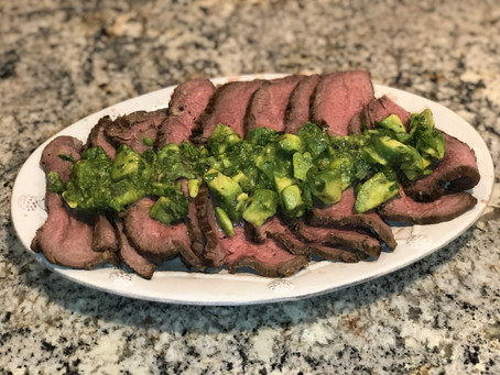 Beef Roast with Avocado Chimichurri