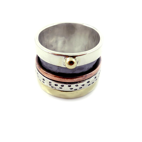 Tri-Colour Wide Band Ring