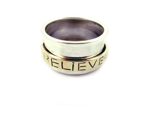 Love Hope Believe Spinner Ring