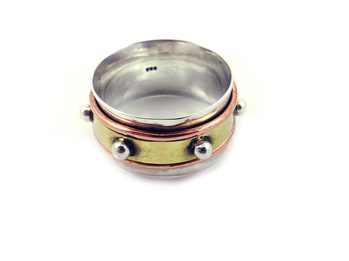 Sterling Silver Spinner Stud Ring