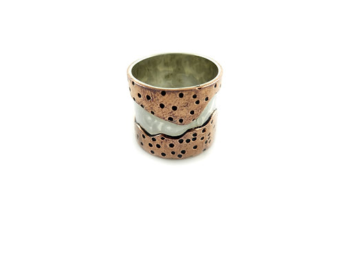 Mountain Copper & Silver Ring