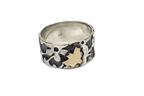Butterfly & Lace Silver & Copper Ring - 10mm