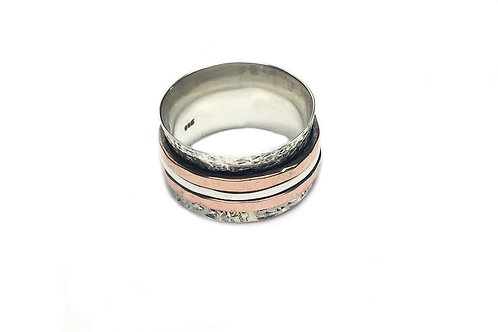 Silver Ring Spinner with Copper Bands