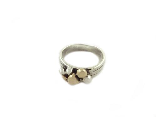 Sterling Silver & Copper Multi Ball Ring