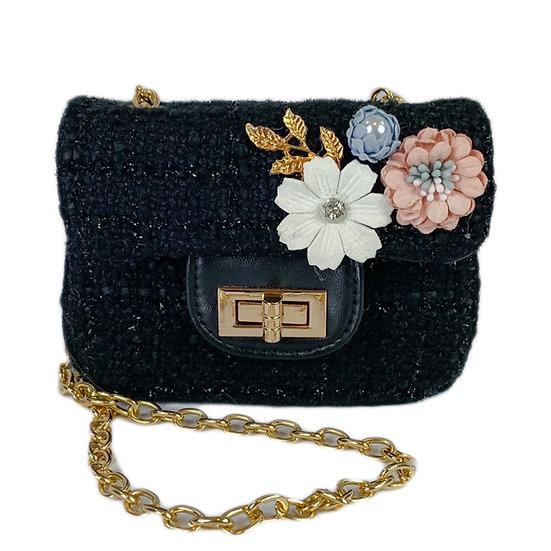 Small Crossbody Tweeted Purse with Applique