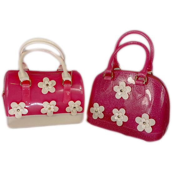 Flowers Barrel Jelly Hand Bag