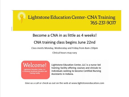 CNA Training Class Begins June 22nd at Lightstone Education Center
