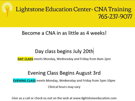 CNA Training: Upcoming Day and Evening Courses at Lightstone Education Center