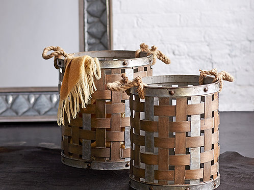 Pail with Rope Handle Set of Two