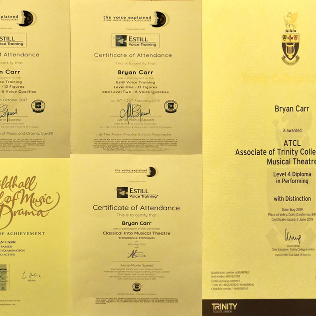 Bryans Awards Certs