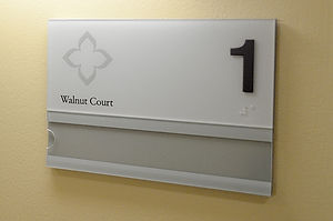 Episcopal Retirement Services Walnut Court Room Sign