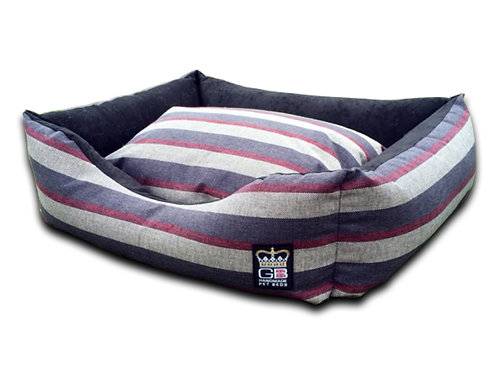Country Classic Dog Settee - Charcoal stripe