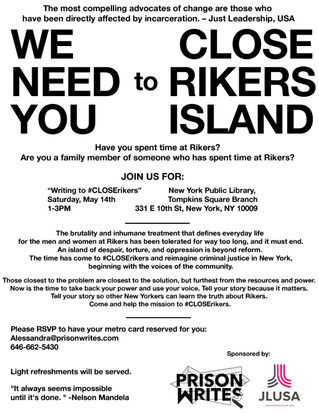 Writing to #CLOSERikers