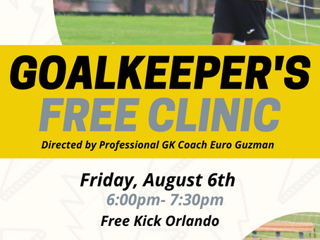 Goalkeeper's Clinic next Friday!