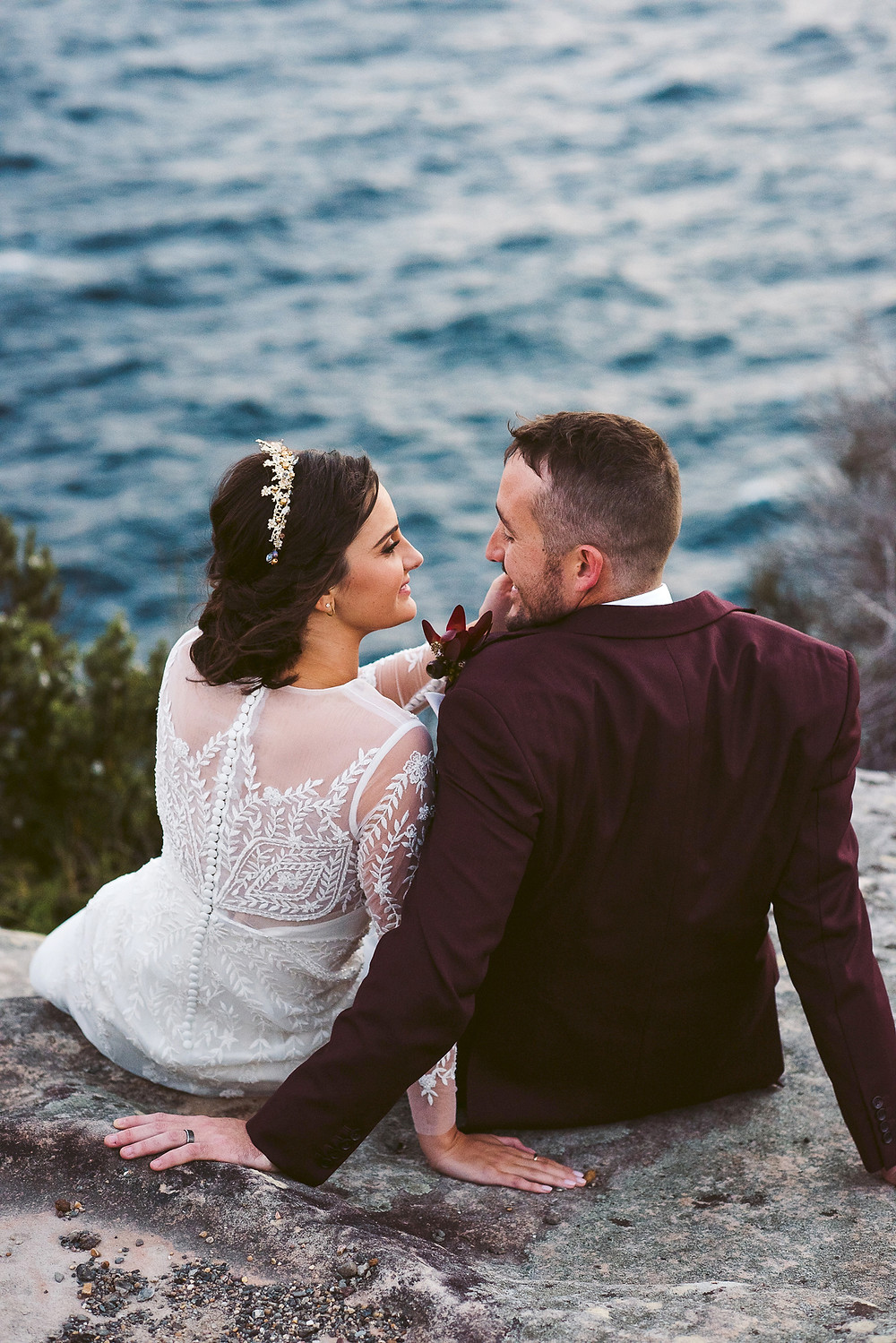manly wedding, bride and groom, north head, fairfax lookout, wedding dress, sydney harbour