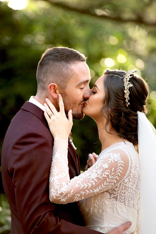    manly wedding, bride and groom, cardinal cerruti chapel, wedding dress, golden hour