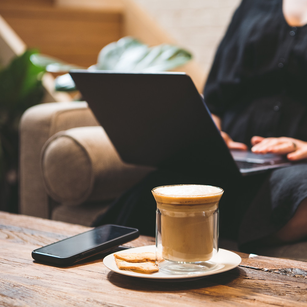 working from home, home office, laptop, coffee, mobile