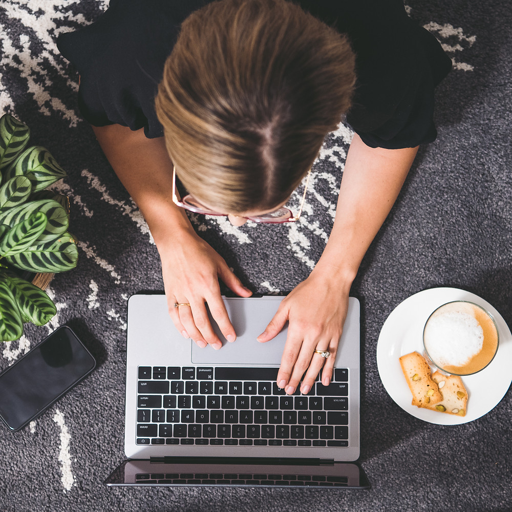 working from home, home office, laptop, coffee, mobile, plants, greenery