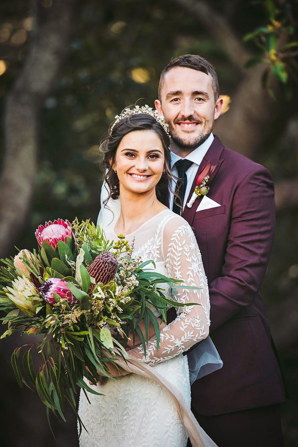   manly wedding, bride and groom, cardinal cerruti chapel, wedding dress, wedding flowers