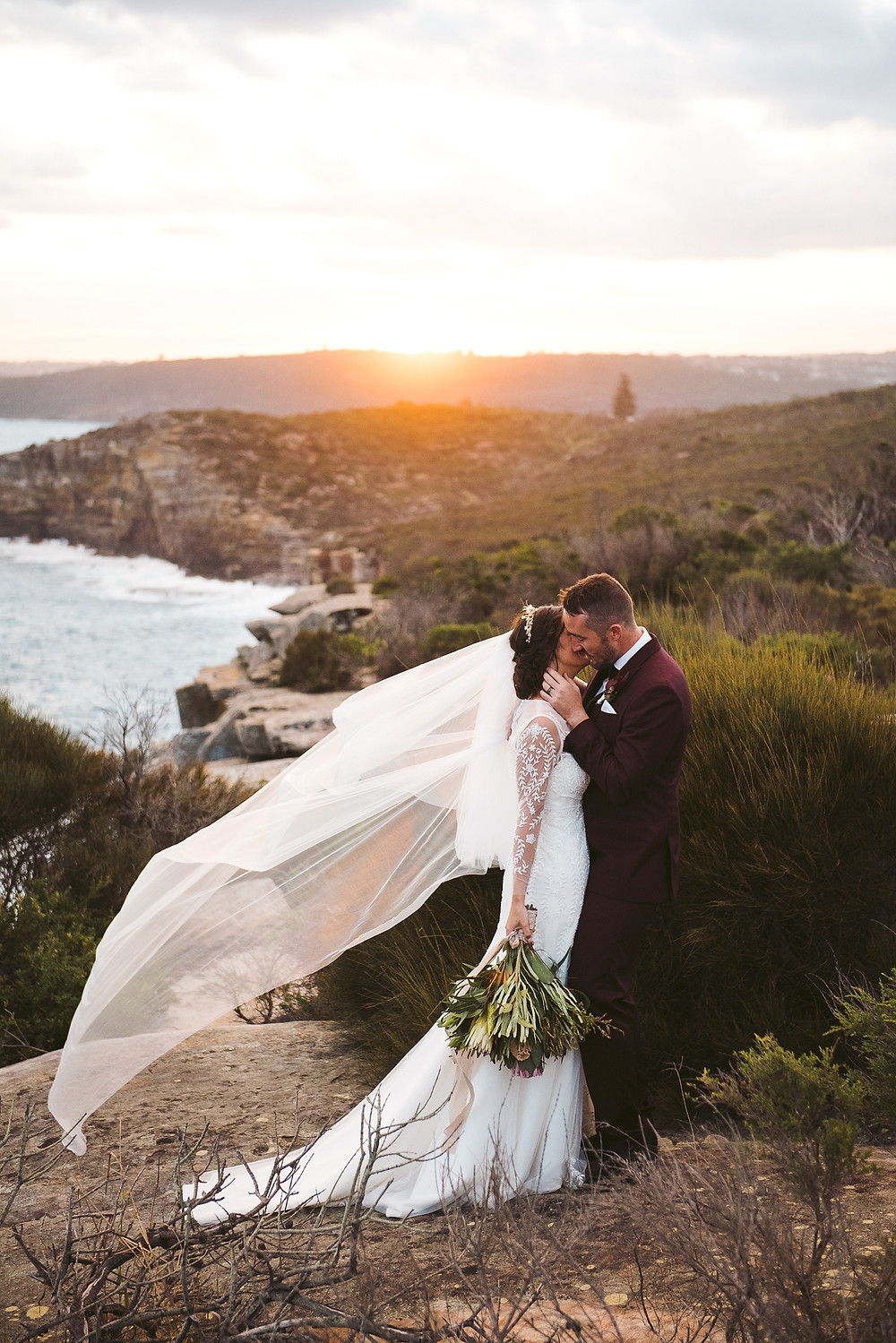 ​ manly wedding, bride and groom, north head, fairfax lookout, wedding dress, veil