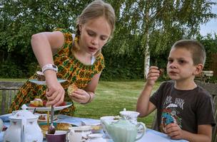 Kids having Tea