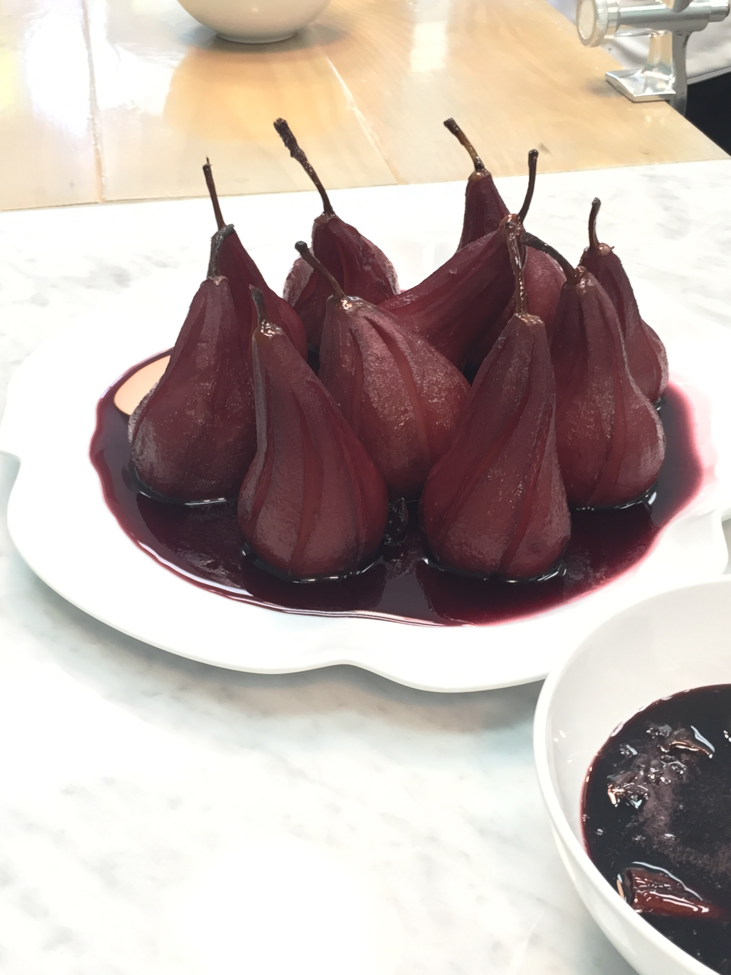 Cabernet poached pears.