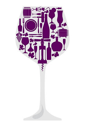 Large wine glass with grapes, cork screws and wine barrels