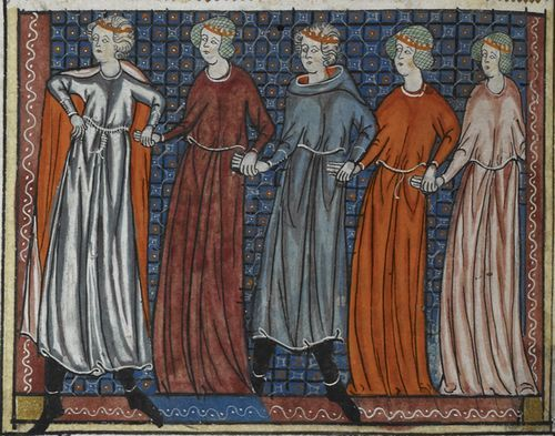 Pleasure ('Deduit') and his companions engaging in a courtly dance