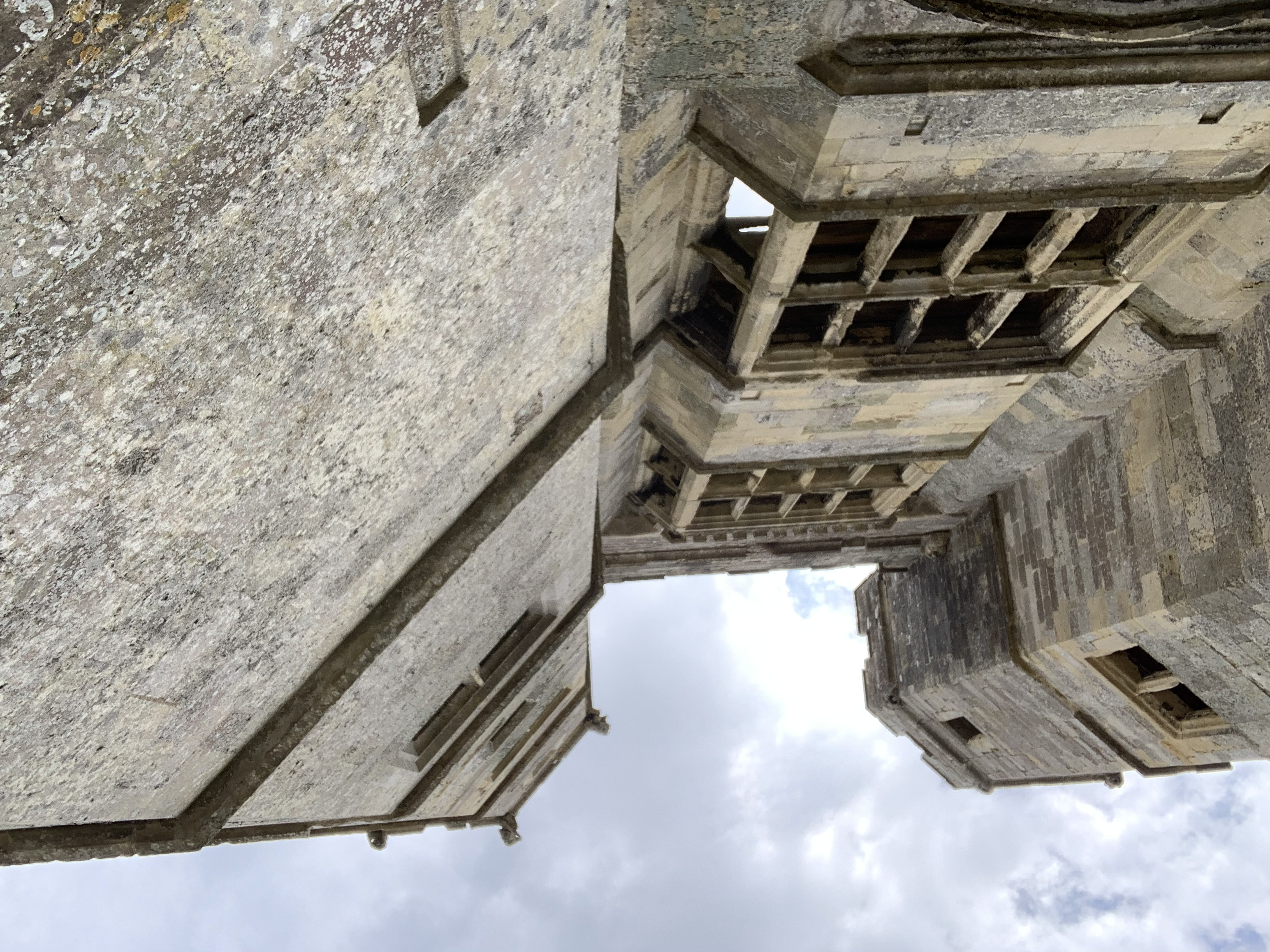 Looking up at the abbey towers