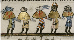 Medieval Mummers Dressed as an Ass, an Ape, a Goat, an Ox and a Vulture