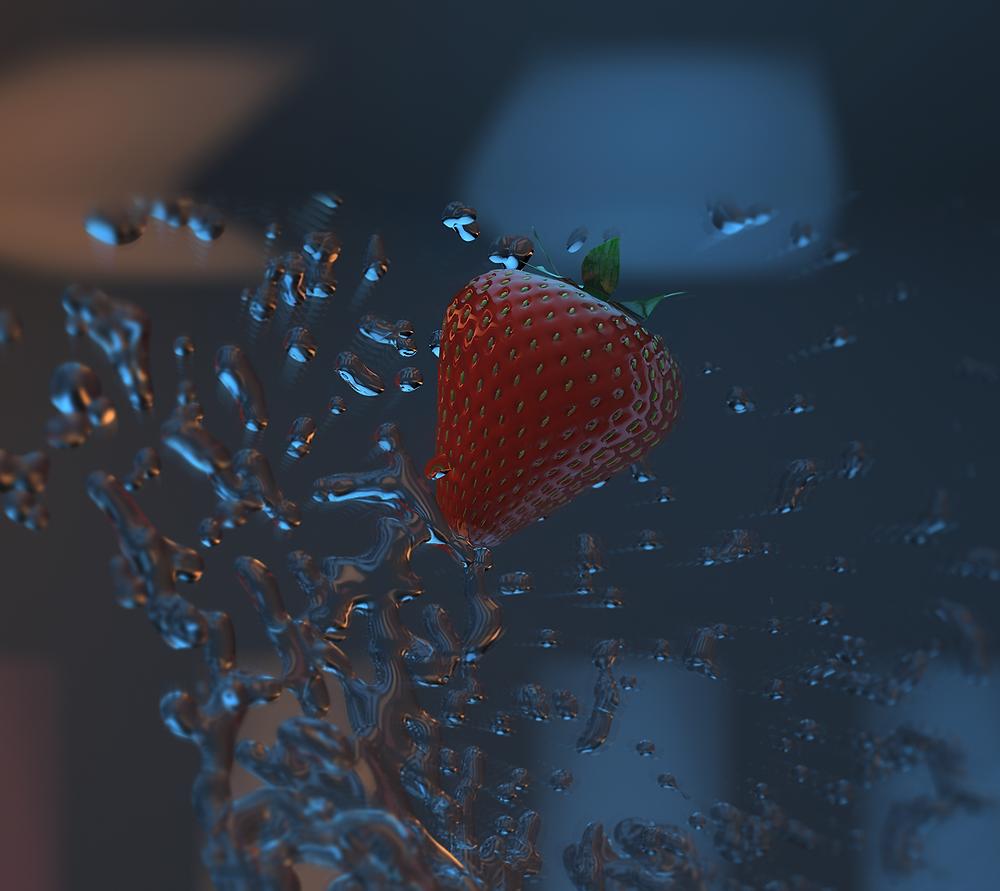 graphiste 3D ,liquide, fraises