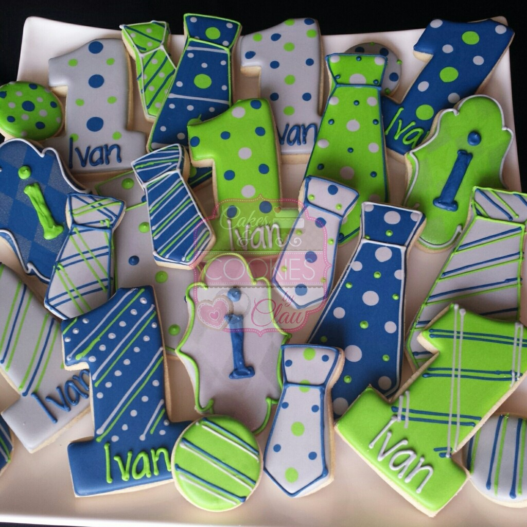 First Birthday Tie Themed Cookies