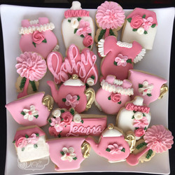 Floral Tea Party Baby Shower Cookies