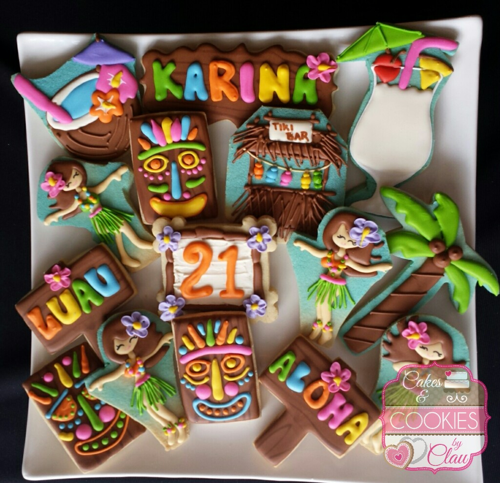 Hula Girls Birthday Cookies