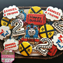 Thomas the Train themed cookies
