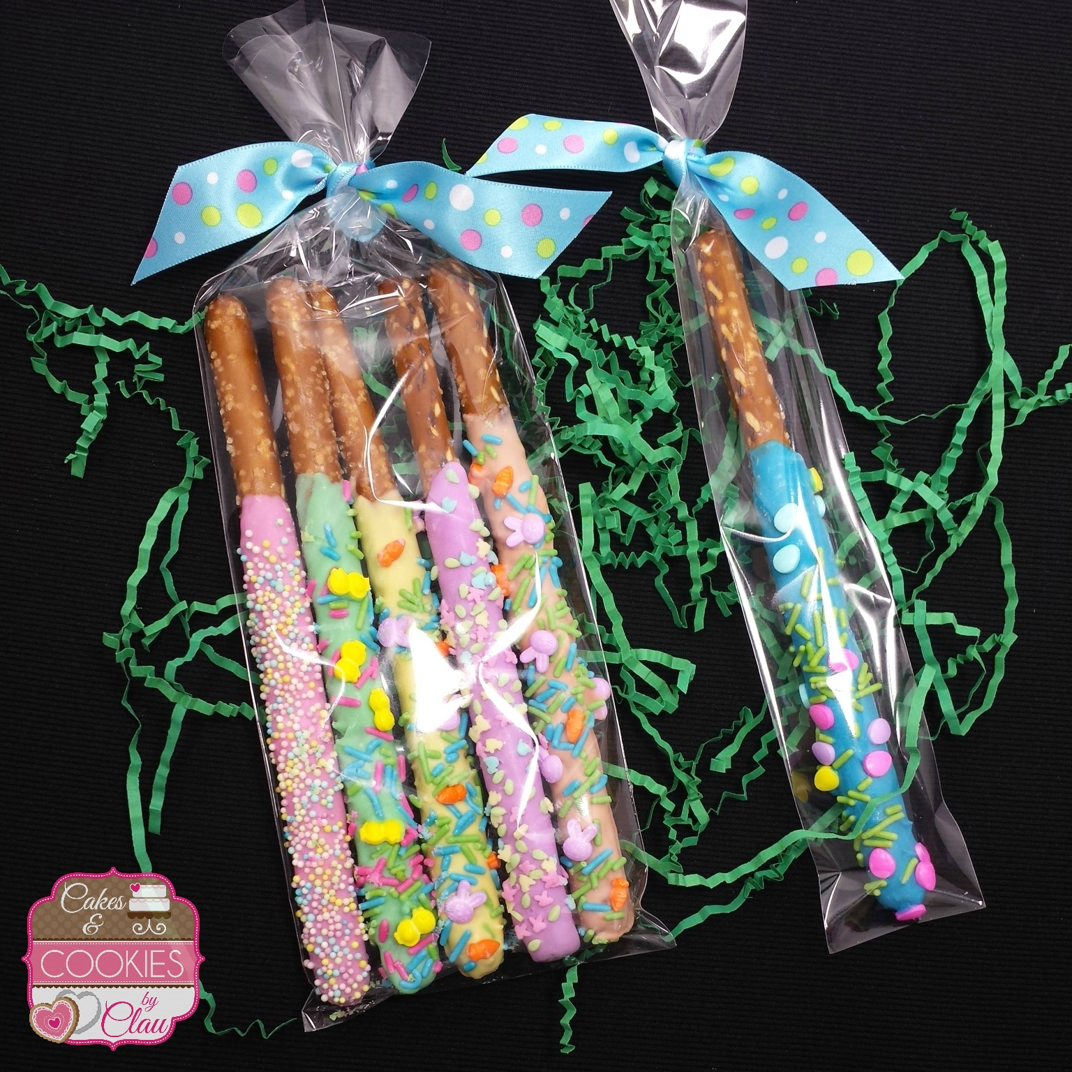 Easter Chocolate Dipped Pretzel Rod