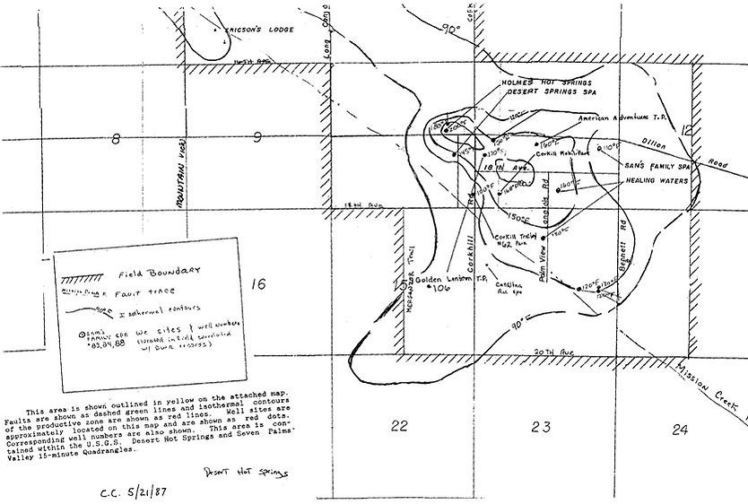 1987 map of hot water mineral springs on famous Miracle Hill