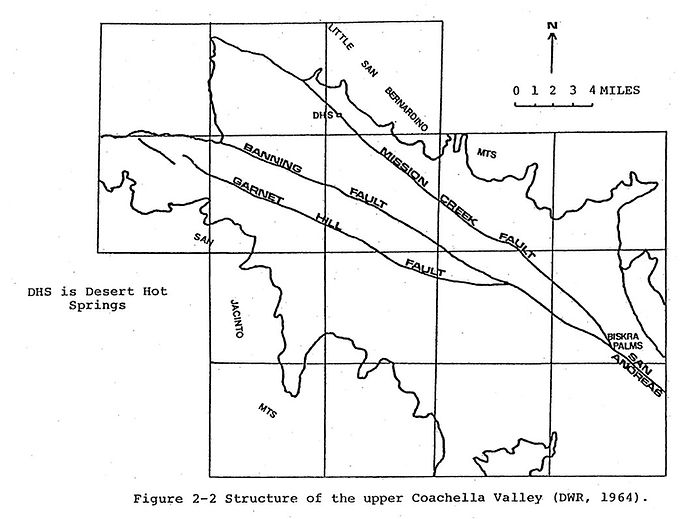 1964 map of earthquake faults through Desert Hot Springs