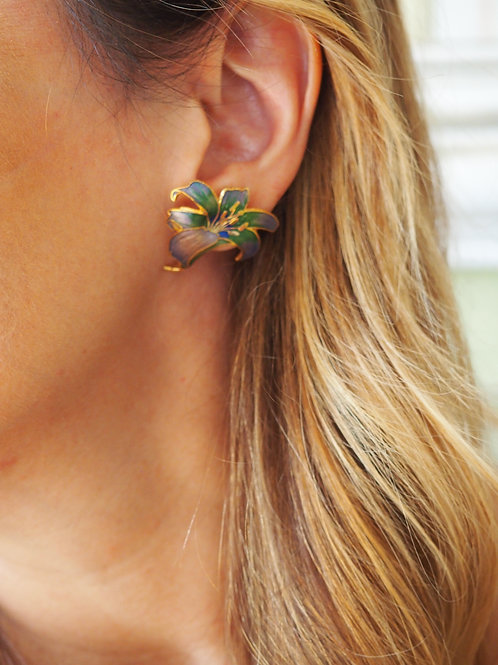 Cloisonne Stud Earrings